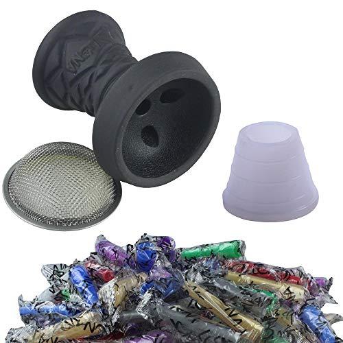 SMOKE 2U Juego de cabezal de piedra para cachimba de primera calidad   cabezal de piedra + colador + junta de la cabeza + 100 boquillas higiénicas negras