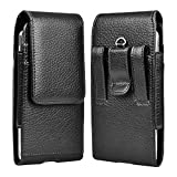 Takfox Phone Holster for Samsung Galaxy Note 20 Ultra S20 FE S21+ S10e S9 S8 A01 A11 A21 A51 A71 5G A10e A20 A50, Note 10 9 8 J7 Cell Phone Belt Clip Holster Leather Carrying Pouch w Card Holder,Black