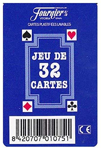 Naipes Heraclio Fournier Juego de Poker 32 Cartas SKAT - Jeu de 32 Cartes Azul