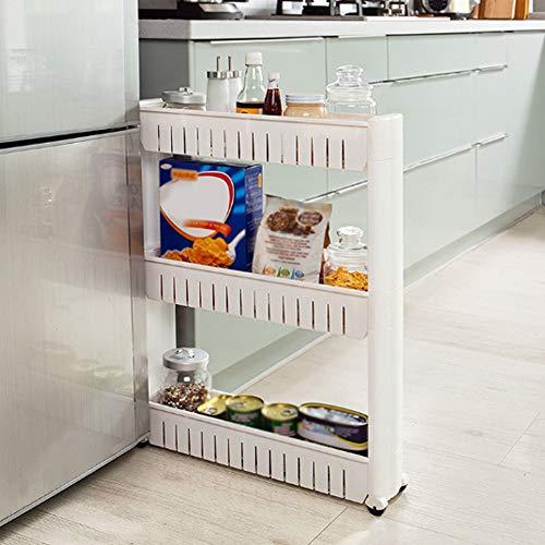 Warmiehomy 3 Etagen Küchenwagen auf Rollen Nischenwagen Schmal Mehrzweck Rollwagen Küchenregal Platzsparend Badregal Weiß 54,5 x 12 x 72cm
