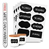 96 Premium Chalkboard Labels Bulk - Free Erasable Chalk Pen - Dishwasher Safe Chalk Board Mason Jar Labels - Removable Waterproof Blackboard Sticker Label for Jars Glass Bottle Kids