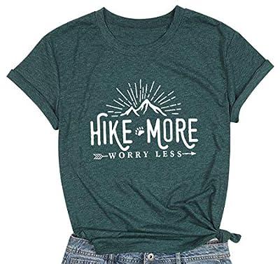 Hike More Worry Less Shirts for Women Hiking Shirt Funny Letter Print Tshirt Short Sleeve Shirt Gift for Hiker (Green, Medium)