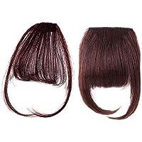 2 piezas Clip marrón en flequillo Extensión recta del cabello humano Flequillo frontal Invisible Natural Estilo de una pieza Air Bangs con templos y postizo grueso para mujeres