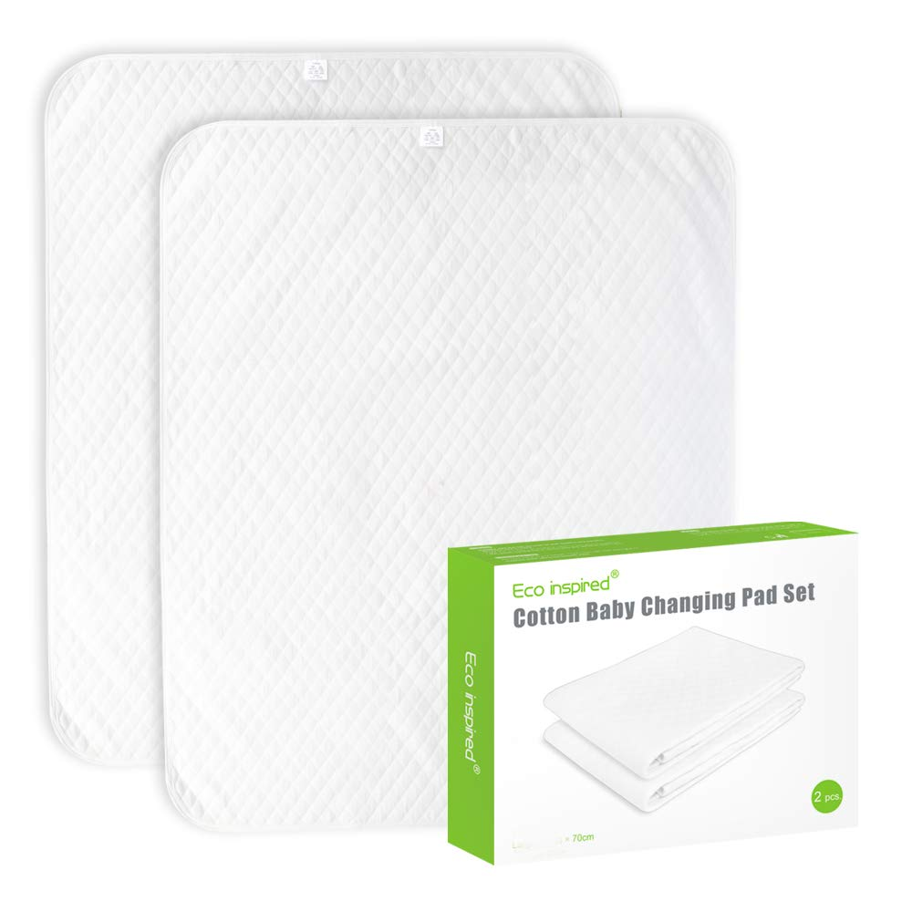 """ECO inspired Cotton Baby Changing Pad Diaper Changing Pad Splashproof Changing Pad Liners, Ultra Soft Breathable Washable Reusable, Large Size 35.5""""x27.5"""", White, 2 PCS"""