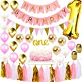1st Birthday Girl Decorations Party Supplies Set | Princess First Pink n Gold Girls Theme Kit | 1 Year Cake Topper, Happy Birthday Banner Number Mylar Balloon, Latex and Metallic Balloons, Paper Decor