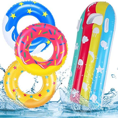 JoinJoy Pool Floats Donuts Swim Rings Swim Tubes Inflatable Beach Swimming Party Toys for Kids product image