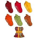 LA Active Calzini Presa Antiscivolo Cotone - 6 Paia - Per Bambini Piccoli Neonati e Infanti (Colori della Terra, 12-36 Mesi)