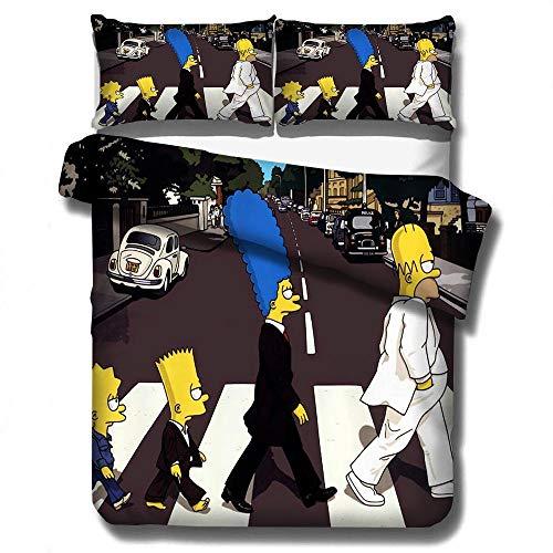 ZYNYHGS Juego de Ropa de Cama con Funda nórdica Animada en 3D para niños de los Simpsons, Fundas nórdicas Suaves y cómodas de Microfibra para niños y...