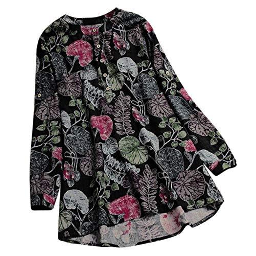 Xmiral Tops T-Shirt Plus Size Damen Casual Oansatz Druck Langarm Frauen Lange Bluse Taste Polyester(5XL,Blau)
