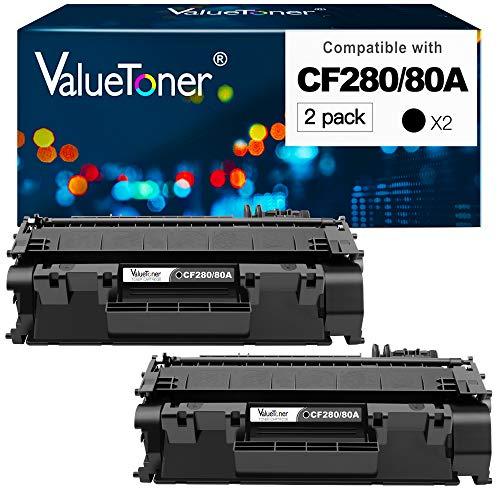 Valuetoner Compatible Toner Cartridge Replacement for HP 80A CF280A 80X CF280X 05A CE505A to use with Laserjet Pro 400 M401n, M401dn, M401dne, MFP M425dn, M425dw,Laserjet P2055DN Printer (2 Black)