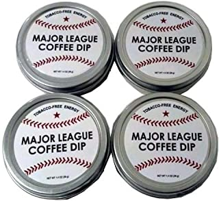 Major League Coffee Dip (Pack of 4) Quit Chewing Tin Can Non Tobacco Nicotine Free Smokeless Alternative to Chew Snuff Snus Leaf