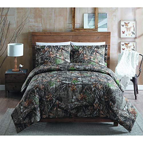 MISC Camo Hunting Comforter Full Sized Set Brown Green Realtree Bedding Camouflage Pattern Branches Lodge Forest Rustic Cabin Outdoors Print Cottage Trees Leaves Fall, Cotton 3 Piece