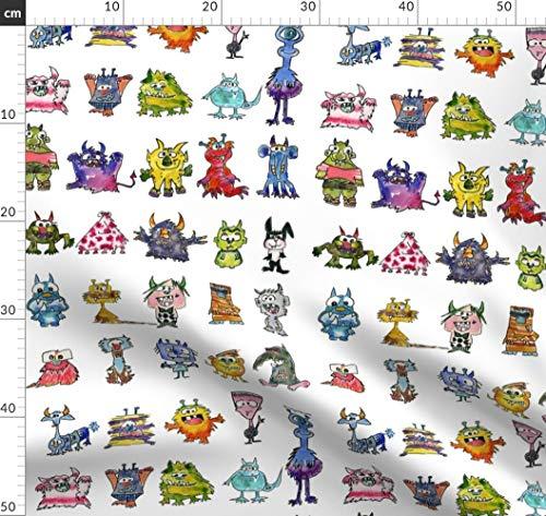 Niedlich, Komisch, Monster, Comic, Bunt, Ausländer Stoffe - Individuell Bedruckt von Spoonflower - Design von Lillyarts Gedruckt auf Baumwollstoff Klassik