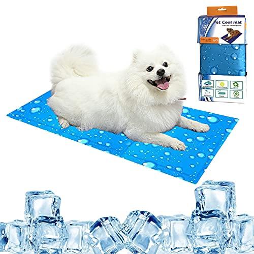 Kühlmatte Hunde Katzen L (90x50cm) Haustier Kühlmatte Ungiftiges Gel Eisseidenpolster für Hunde, Katzen, Haustiere Sommerkühlung Schlafmatratze Zubehör für Drinnen, Draußen oder im Auto (Blau)