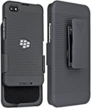 Case with Clip for BlackBerry Z30, Nakedcellphone [Ribbed Black] Hard Shell Cover with [Rotating/Ratchet] Belt Hip Holster...