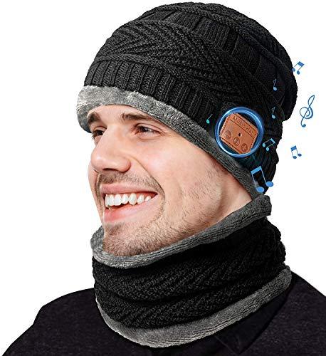 COTOP Gorro de invierno Bluetooth 5.0,Regalos originales, regalos navideños originales, gorro Bluetooth tejido musical para hombres y mujeres con bufanda, regalos de cumpleaños para amigos, familias