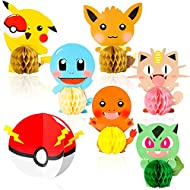 TICIAGA Pikachu Party Favors, 7pcs Cartoon Pikachu Honeycomb Centerpieces, Table Topper for Birthday Party Decoration, Double Sided Cake Topper, Party Supplies for Kids, Photo Booth Props