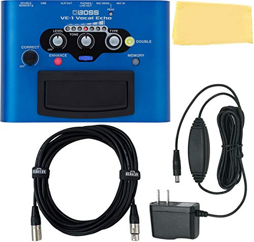 Boss VE-1 Vocal Echo Bundle with Power Supply, XLR Cable, and Austin Bazaar Polishing Cloth