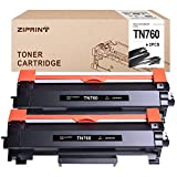 ZIPRINT with CHIP Compatible Toner Cartridge Replacement for Brother TN760 TN 760 TN730 for HL-L2350DW MFC-L2710DW DCP-L2550DW MFC-L2750DW HL-L2395DW HL-L2370DW HL-L2390DW (Black, 2-Pack)