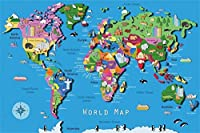 HD10x7ft航海のテーマ世界地図背景大陸と動物生活写真の背景子供の誕生日パーティーの装飾幼児の新生児の写真1歳の誕生日の壁紙Photoboothスタジオの小道具