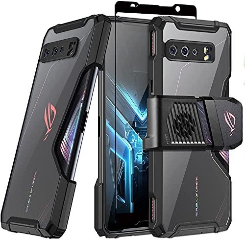Fanbiya Schutzhülle ROG Phone 3, ROG 3 Strix Cover, ROG ZS661KS Schutzhülle Kompatibel mit Aero Cooler & Air Trigger Stoßfest TPU Transparent - ROG 3 mit Hartglas