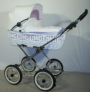 EICHHORN Weidenkorb Kinderwagen Korb Weiß Kunstleder Weiß Innenstoff K051