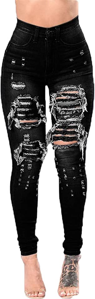 Women's Ripped Boyfriend Denim Jeans Pants Distressed Stretch Skinny Africa Jeans Legging with Hole (Small,Black)