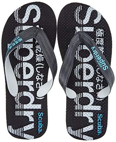 Superdry  SCUBA PERFORATED FLIP FLOP, Herren Zehentrenner Mehrfarbig (Black/Grey/Fluro Blue X2d),  42-43 EU (8-9 UK)