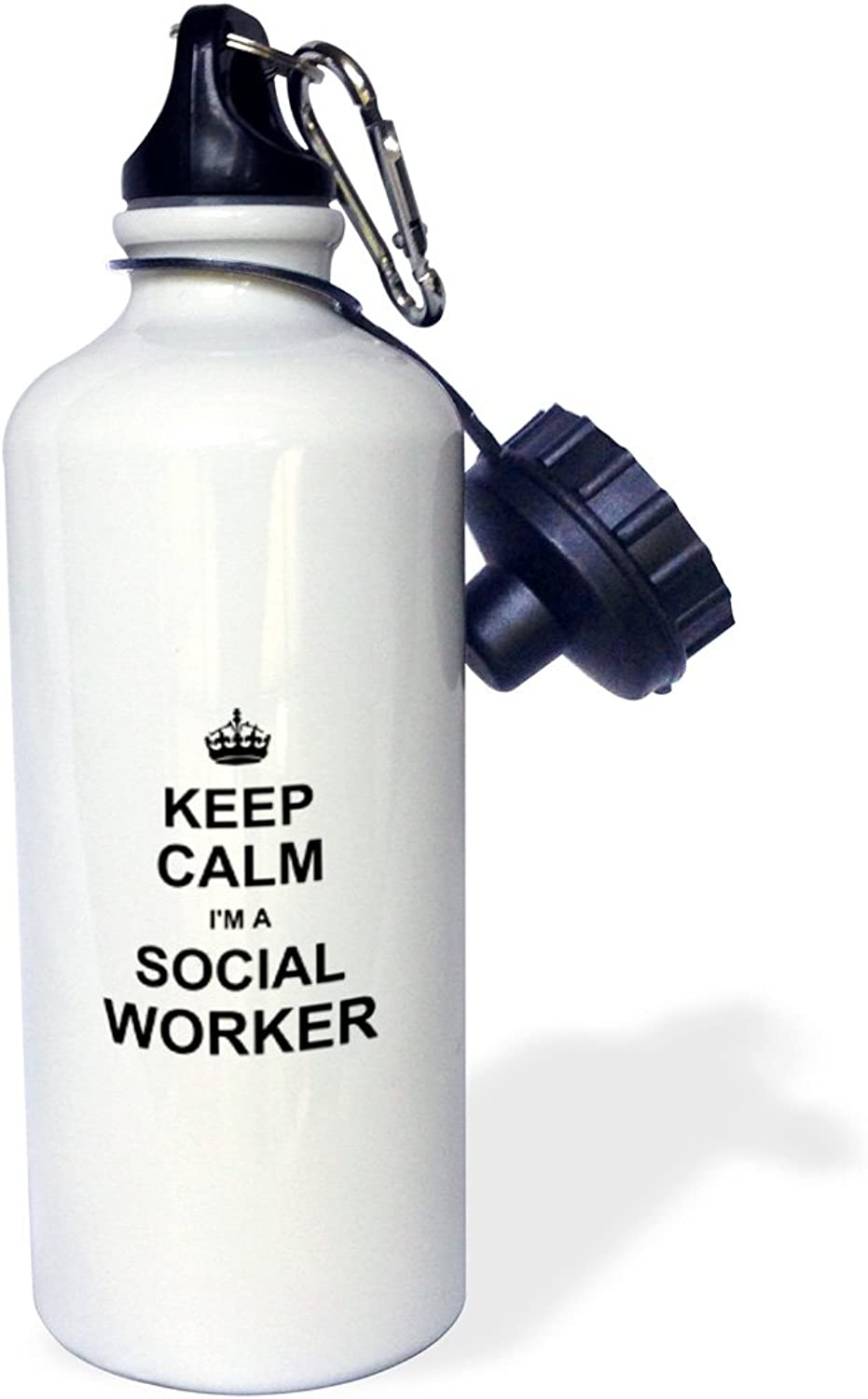 3dpink wb_194473_1 Keep Calm Im a Social Worker-Job Pride-Funny Profession Work Gift Sports Water Bottle 21 oz White