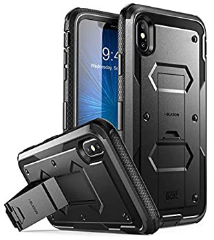 i-Blason Case for iPhone Xs Max 2018 Release Built in Screen Protector Armorbox Full Body Heavy Duty Protection Kickstand Shock Reduction Case  Black  6.5