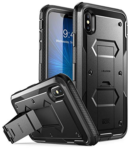 i-Blason Case for iPhone Xs Max 2018 Release, Built in Screen Protector Armorbox Full Body Heavy Duty Protection Kickstand Shock Reduction Case (Black), 6.5'