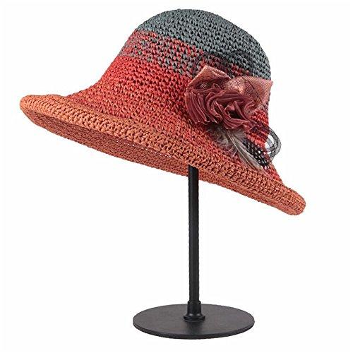 LTH-GD Gorra de Invierno y Sombrero Sombrero de señora en Verano a lo Largo de la Sombra Sombrero de Paja Sombrero de Paja de Papel Señora Sombrero (Color : Orange)