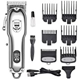 DigHealth Professional Mens Hair Clippers,Electric Hair Cutting Machine,Hair Trimmer kit Cordless, Beard Shaver USB Rechargeable with LCD Display for Men and Family Use(Silver)