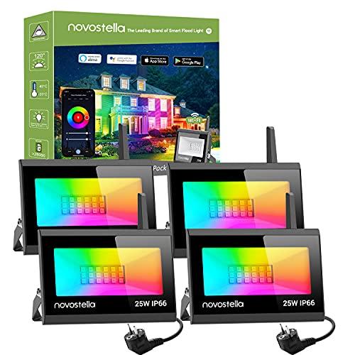 Novostella Upgrade Smart RGB Strahler 25W 4er Set, Blaze LED Strahler Kompatibel mit Alexa Google Home Flutlich mit 16 Mio. Farben IP66 Wasserdicht Gartenbeleuchtung für Außen Innen Party Hochzeit