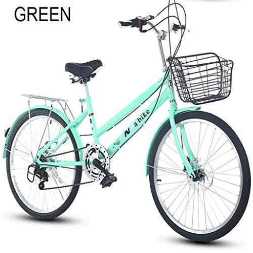 Feiteng 24-Zoll-Gangwechsel-Fahrrad für Erwachsenen Schüler Geschwindigkeitsänderung, Brems bikecycle,Grün