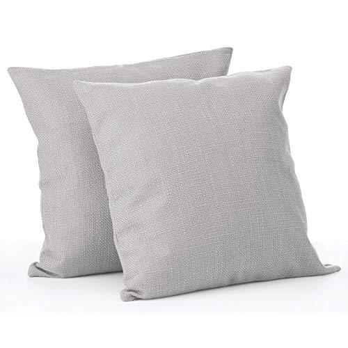 mDesign Juego de 2 fundas de cojín – Bonito forro para cojines decorativo de poliéster – Suaves fundas para cojines sin relleno – gris