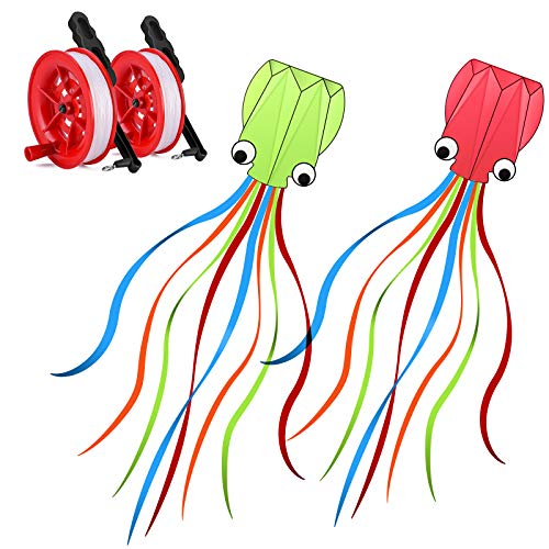 METRONIC Kites Large Octopus Long Tail Beautiful Easy Flyer Kites Park and Beach Kites Good Toys for Kids and Adults