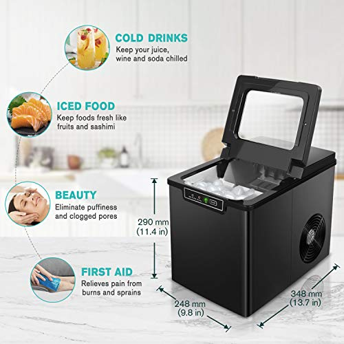 Crownful Ice Maker Countertop Machine, 9 Ice Cubes Ready in 8-10 Minutes, 26lbs Bullet Ice Cubes in 24H, Electric Ice Maker with Scoop and Basket - Black