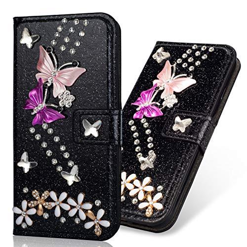 Flip Ledertasche für Huawei P30,Stand Funktion Diamond Loves Sparkle Billig Glitter Glitzer Musterg Soft Slim Retro Bookstyle Karteneinschub Magnet Wallet Hülle Schutzhülle