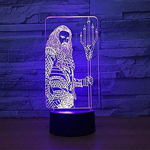 Luces de noche LED 3D Lámpara de mesa de ilusión 3D 7 colores Táctil (control remoto) Cambio automático para decoración de dormitorio de bebé Niños Regalo de Navidad Neptuno (Control remoto)@To col