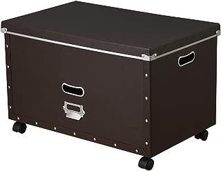 ナカバヤシ 収納ボックス ストックボックス フタ付き LLサイズ キャスター付き ブラウン FBB-LLC-S