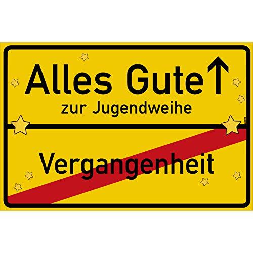 vanva Alles Gute zur Jugendweihe Ortsschild Jugendweihe Geschenke Schild 30x20 cm Jugendweihe Jugendweihe Karten Gelb