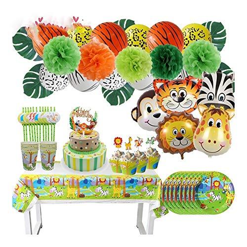 DZSW Rhldzswb La Fiesta de cumpleaños del Mono león del Papel de Aluminio Globo de la decoración de los niños Vajilla Desechable Primero de la Torta de la Ducha Decoración de la Fiesta de Bodas