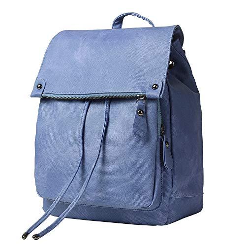 Damen-Rucksack, Geldbörse, wasserdicht, diebstahlsicher, leicht, PU-Leder, Nylon, Schultertasche, Reiserucksack für Damen Gr. 42, blau