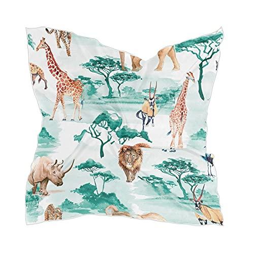 Linomo Bufanda de seda de gasa para mujer, diseño de elefante africano, jirafa, leopardo, león, pájaro, mantón cuadrado, seda como bufanda