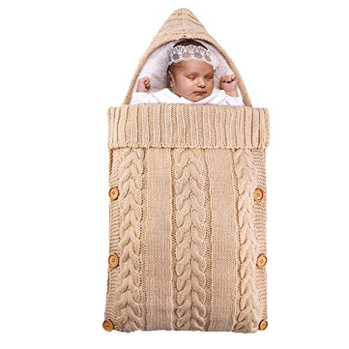 ZZALLLManta cálida para bebé Saco de Dormir para bebé Saco para pies Forro Polar Born Swadding Wrap - Beige