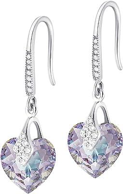 Crystals & Stones – Orecchini a forma di cuore in argento 925 – Vitrail Light – Orecchini con cristalli Swarovski® – bellissimi orecchini da donna – meravigliosi orecchini con scatola regalo