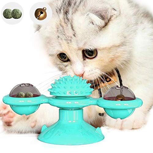 PETTOM Katzenspielzeug, Interaktives Katzenspielzeug Katzenball Windmühle Katzenminze Spielzeug Katze Haarbürste Lustige spielzeug für katzen Plattenspieler Massage Kratzen Tickle Cat Toy mit Saugnapf