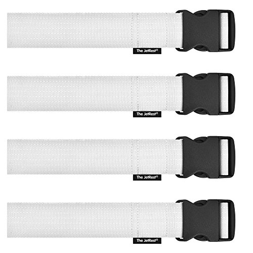 UK Made Luggage Suitcase Strap (180cm x 5cm) by The JetRest (Pack of 4 - White)