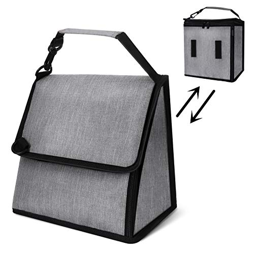 Insulated Lunch Bag for Men Women Godmorn Reusable Cooler Bags Collapsible Leakproof Adult Kids Large Lunch Tote Bag for Work School Picnic Gray 2021 Updated Expandable Design Keep WarmCold